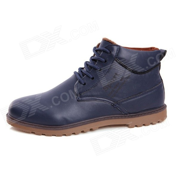N05 Men's Fashionable Thickened Warm Winter PU Martin Boots - Dark Blue (Size 43 / Pair)