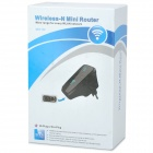 UNT-02 Wall-Plug 300Mbps Wireless-N Mini Router Signal Amplifier Repeater - Black (EU Plug)