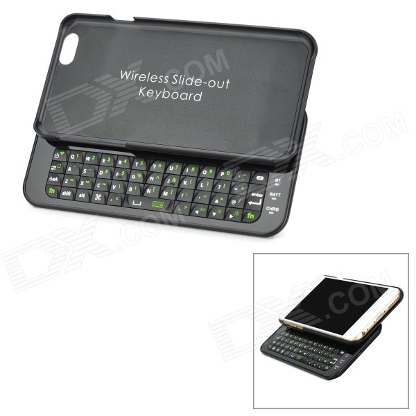 Bluetooth v3.0 49-Key Slid-Out Keyboard w/ Back Case for IPHONE 6 - Black universal 61 key bluetooth keyboard w pu leather case for 7 8 tablet pc black