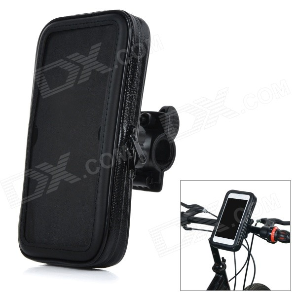 Bike Bicycle Mounted Water Resistant Protective PU + PVC Case for IPHONE 6 PLUS - Black