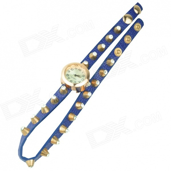 Women's Stylish Punk Rivet Rhinestone Inlaid PU Band Quartz Bracelet Watch - Blue + Gold (1 x 377)
