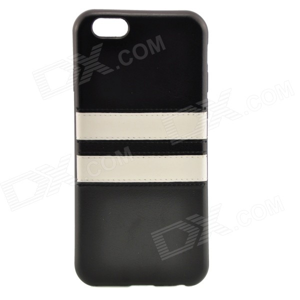 "Horizontal Lines Pattern TPU + PU Back Case for IPHONE 6 4.7"" / 6S - Black + White"