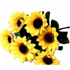 Seven Silk Cloth Sunflowers in Bunch Stylish Ornaments Decorations - Yellow + Green