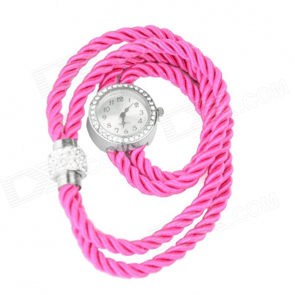 Women's Rhinestone Studded Fluorescent Rope Band Quartz Analog Bracelet Watch - Deep Pink (1 x 377)