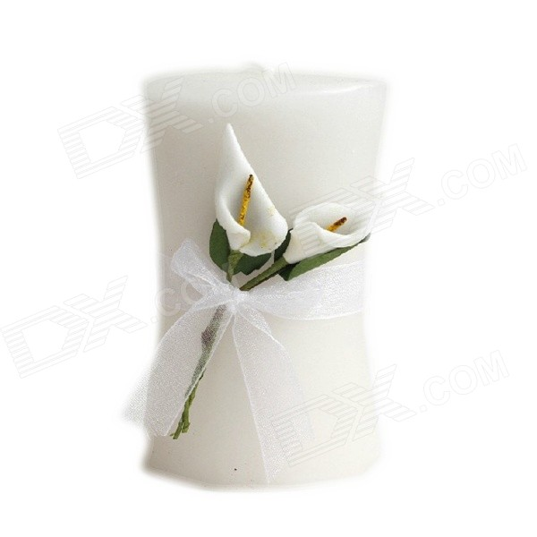 FEIS YM001 Callas Patterned Cylindrical Candle - White