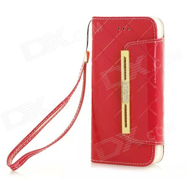 Fashion Handbag Style PU + TPU Flip Open Case w/ Stand / Card Slots for IPHONE 6 - Red high quality leather wallet style flip open case w card slots for iphone 6 plus brown