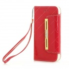 Fashion Handbag Style PU + TPU Flip Open Case w/ Stand / Card Slots for IPHONE 6 - Red
