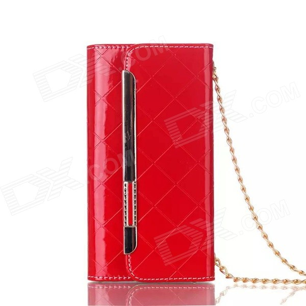 Metal Chain Fashion Handbag PU + TPU Full Body Case w/ Card Slots for IPHONE 6 PLUS - Red metal chain handbag style pu tpu full body case w card slot for iphone 6 4 7 gold
