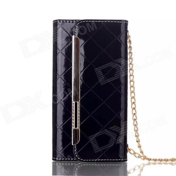 Metal Chain Fashion Handbag PU + TPU Flip Open Case w/ Card Slots for IPHONE 6 PLUS - Black iface mall for iphone 6 plus 6s plus glossy pc non slip tpu shell case black