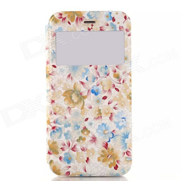Oil Painting Flowers Pattern PU Leather + TPU Flip Open Case w/ View Window / Stand for IPHONE 6 grid pattern pu leather case w view window for iphone 6 4 7 blue