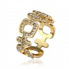 Women's Chinese Character Shaped Rhinestone Inlaid Gold Plated Ring - Gold (U.S Size 8)