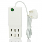 Universal 12A 6-Port USB Charger w/ Switch / Indicator for Cellphone + More (UK Plug/150cm/110~240V)