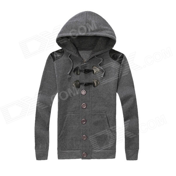 Stylish Horn Toggle Buttons Brushed Fabric Hooded Fleece Coat - Grey (XL)
