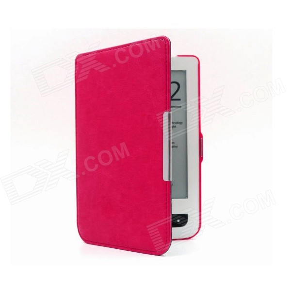Magnetic Flip-Open PU Leather Case for Pocketbook 624 / 626 - Deep Pink folio stand pu leather cover case for new pocketbook 614 624 626 screen protector