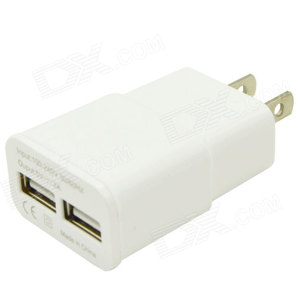 Universal US Plug Power Adapter Charger com USB duplo para telefones - branco
