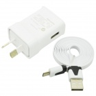 Universal USB Output 5V 2000mA Power Adapter + Micro USB Flat Cable Set - White (AU Plug)
