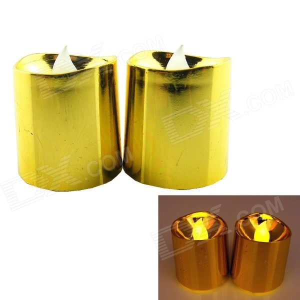 PZCD MY-13 Yellow Light Flame Twinkle Effect LED Digital Candle Lamp - Golden (2 PCS / 2 x CR2032)