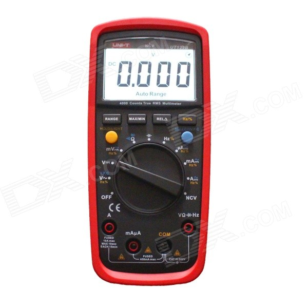 UNI-T UT139B True RMS Digital Multimeter - Black + RedMultimeters<br>Form  ColorBlack Grey + RedBrandUNI-TModelUT139BQuantity1 DX.PCM.Model.AttributeModel.UnitMaterialABSScreen Size2.6 DX.PCM.Model.AttributeModel.UnitMax. Display3999DC Voltage40mV/400mV/4V/40V/400V/600V ±(0.5%+2)AC Voltage40mV/400mV/4V/40V/400V/600V ±(0.8%+3)DC Current400uA/4000uA/40mA/400mA/4A/10A ± (0.8%+2)AC Current400uA/4000uA/40mA/400mA/4A/10A ±(1.0%+3)Resistance400 ohm/4K ohm/40K ohm/400K ohm/4M ohm/40M ohm ±(0.8%+2)Capacitance Accuracy9.999nF/99.99nF/999.9nF/9.999uF/<br>99.99uF/999.9uF/9.999mF/99.99mF ±(4.0%+5)Frequency Accuracy9.999Hz~9.999MHz ±(0.1%+4)Transistor TestNoTemperature TestNoFrequency TestYesPower Consumption TestNoShort-Circuit ProtectionYesShort Curcuit BuzzYesAuto Power OffYesPowered ByAA BatteryBattery Number2Battery included or notYesCertificationCEPacking List1 x Multimeter2 x Batteries2 x Test leads (1m)1 x English user manual<br>
