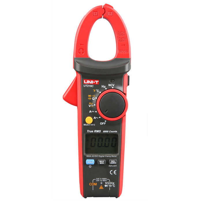 UNI-T UT216C 600A True RMS Digital 1.77 LCD Clamp Multimeter - Red + Black Grey (3 x AAA)