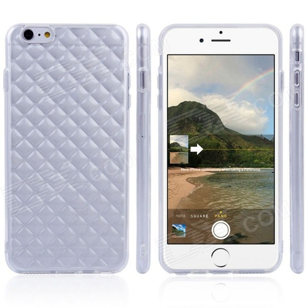 Diamond Pattern Back Case For IPHONE 6 PLUS 5.5 - Translucent White transparent tpu material spindrift pattern and diamond design protective back cover case for iphone 6 plus 5 5 inches