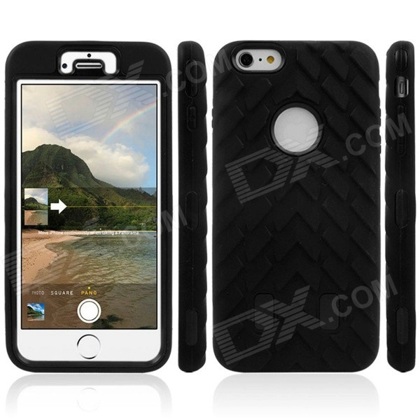 3-in-1 Robot Tire Grain Pattern Silicone Cover Case for IPHONE 6 PLUS - Black football grain pc silicone hybrid cover case for iphone 7 blue