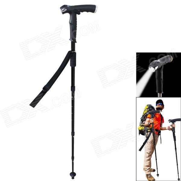 Retractable 4-Fold Aluminum Alloy Alpenstock w/ Speaker / Flashlight / SOS - Black
