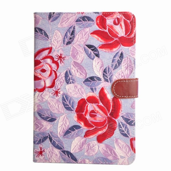 Flower Grain Cloth TPU + PU Protective Full Body Case w/ Auto Sleep for IPAD MINI 1 / 2 - Purple