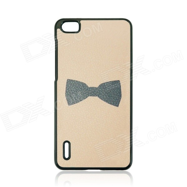 Sweet Bowknot Pattern PC Back Case Cover for HUAWEI Honor 6 - Beige + Black