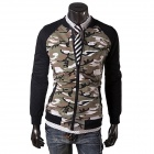 E9710 Men's Fashionable Splicing Sleeves Zippered Cotton Blend Fleece Jacket Coat - Camouflage (L)