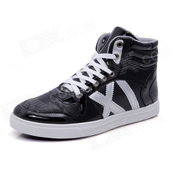 Men's Sports Casual Plush Lined Warm High Shoes Sneakers - Black (43 / Pair)  trainers men 2017 brand sneakers breathable running shoes outdoor blade sole sports shoes high quality non slip sneakers