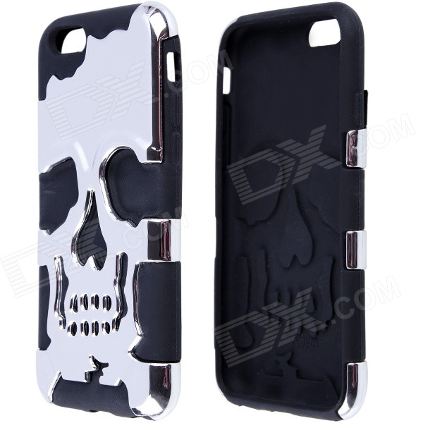 2-in-1 Skull Head Pattern Protective PC + Silicone Case for IPHOHN 6 4.7 - Black + Silver 2 in 1 protective pc silicone case for iphone 5c black white