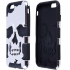 "2-in-1 Skull Head Pattern Protective PC + Silicone Case for IPHOHN 6 4.7"" - Black + Silver"