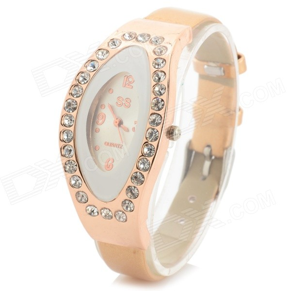 Women's Fashion Rhinestone Inlaid PU Band Analog Quartz Watch - Golden + White (1 x 626) women s stylish rhinestone inlaid pu leather band analog quartz wrist watch pink 1 x 626