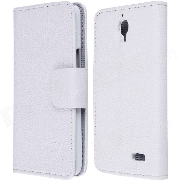 High Quality PU Leather Flip Case with Holder Stand for TCL S820 - White pu leather menu holder restautant menu covers custom leather folders pvc page with high quality accept customized order