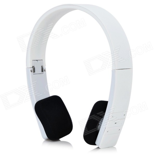 Portable Folding Retractable Bluetooth V4.0 Wireless Headband Headset - White + Black
