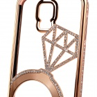 Luxurious Rhinestones Studded Bumper Frame Back Case for Samsung Galaxy S5 i9600 - Champagne Gold
