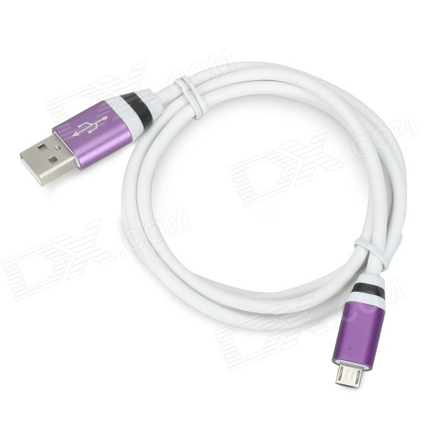 USB Male to Micro USB Male Data Charging Cable - White + Purple (105cm)