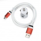 USB Car Cigarette Lighter Power Adapter + Micro USB Charging Cable Set - White + Red