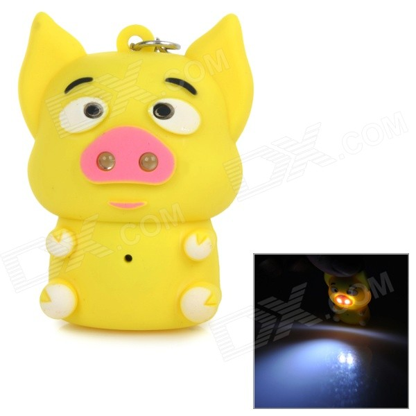 Cartoon Piggy Style 2-LED White Light Keychain w/ Sound Effect - White + Yellow (3 x AG10) tiger style 2 led blue light keychain w sound effect yellow 3 x ag10