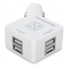 Universal Square Shaped 6A 4-Port USB Car Charger Adapter - White
