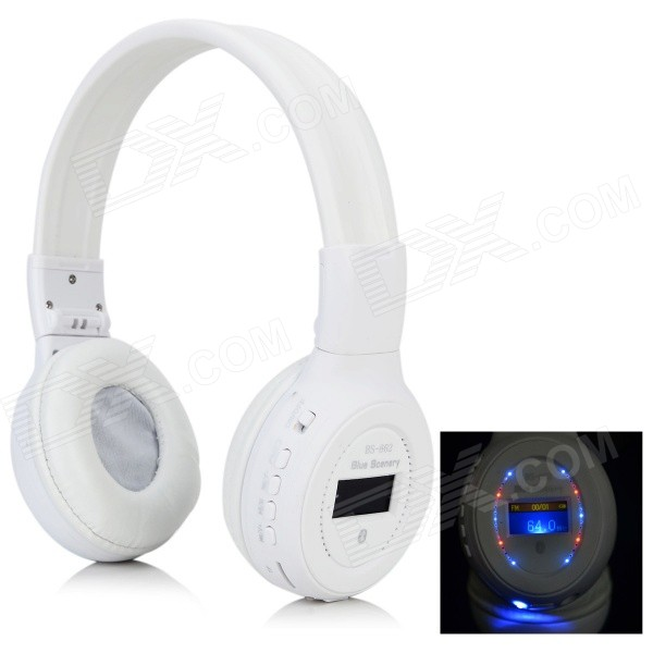 BS-862 Bluetooth V3.0 Headband Headphone w/ Microphone / FM / TF - White aj 81 wireless bluetooth v2 1 mp3 speaker w tf fm micro usb for iphone more black white