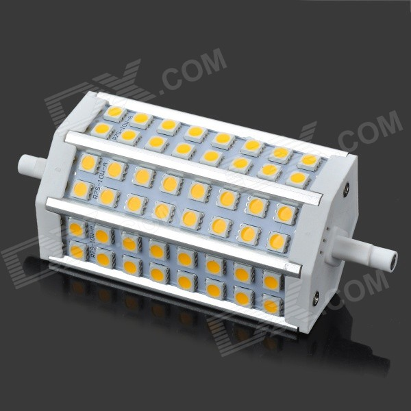 R7S 10W 650lm 2700K 48-SMD 5050 LED Warm White Light Bulb - White + Silver (AC 85~265V) r7s 15w 5050 smd led white light spotlight project lamp ac 85 265v