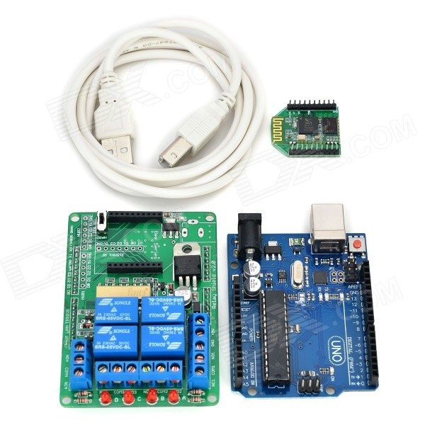 Smart Board + 4-CH Relay Expansion Board + Bee Module Kit Set for Arduino UNO - Green + Yellow cpu ac100 240v input 8 point relay output 6 point new original cp1e e14sdr a plc