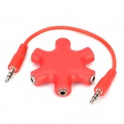 Alumiiniseos + Plastic 1-to-6 3.5mm Audio / Video Splitter w / Cable-Red