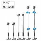 "14~40"" Aluminum Alloy Extension Selfie Telescopic Monopod for GoPro Hero4 /3+/3/2 - Black + White"
