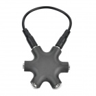 Aluminum Alloy + Plastic 1-to-6 3.5mm Audio / Video Splitter w/ Cable - Black