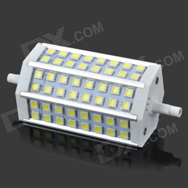 R7S 10W 650lm 6000K 48-SMD 5050 LED White Light Bulb - White + Silver (AC 85~265V) r7s 15w 5050 smd led white light spotlight project lamp ac 85 265v