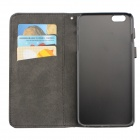 High Quality Leather Wallet Style Flip Open Case w/ Card Slots for IPHONE 6 PLUS - Grey