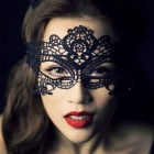 Women's Sexy Seductive Lace Face Mask for Halloween Costume Makeup Party - Black
