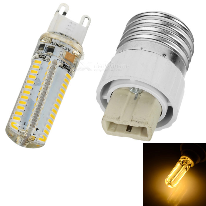 G9 6W 600lm 3200K 104-SMD 3014 LED Warm White Lamp w/ E27 to G9 Adapter - White (AC 220V)
